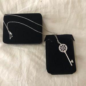 White Gold/ Diamond Encrusted Key Necklace